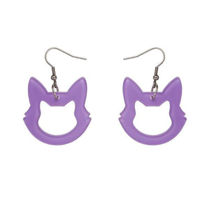 Erstwilder Cat Drop Earrings - Purple-Erstwilder-Rosie Sorrell