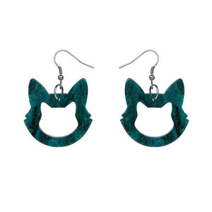 Erstwilder Cat Head Drop Earrings - Teal Glitter
