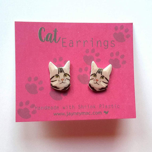 Grey Cat Earrings-Jayney Mac-Rosie Sorrell