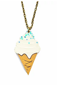 Lynsey Luu Ice Cream Necklace - Blue Sprinkles-Lynsey Luu-Rosie Sorrell