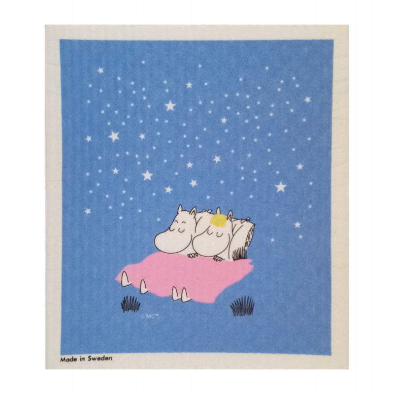 Dish Cloth Card - Sleeping Moomins