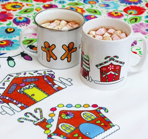 Enamel OR Ceramic Mug - Christmas Gingerbread Houses in Green/Red-Rosie Sorrell