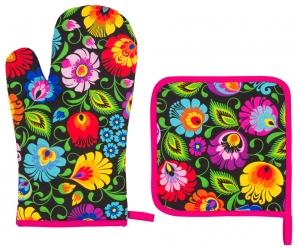 Oven Glove and Pot Holder Set - Black Floral Lowicz-Folkstar-Rosie Sorrell