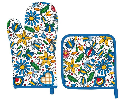 Oven Glove and Pot Holder Set - Floral Kashubian-Folkstar-Rosie Sorrell