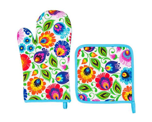Oven Glove and Pot Holder Set - White Floral Lowicz-Folkstar-Rosie Sorrell