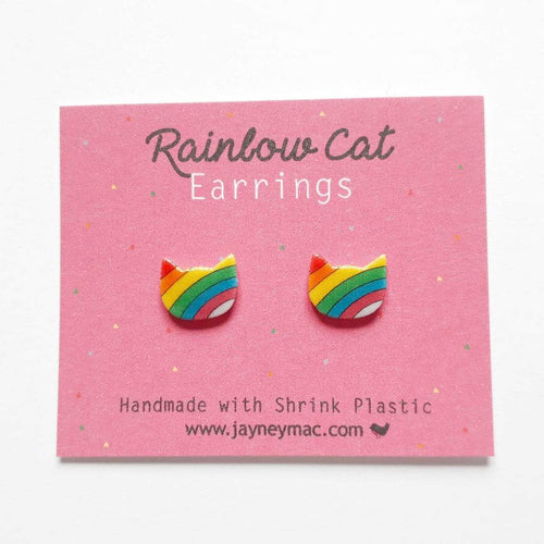 Rainbow Cat Earrings-Jayney Mac-Rosie Sorrell
