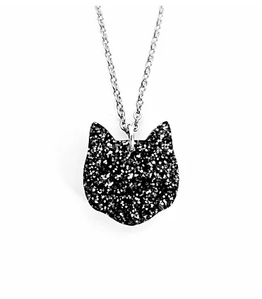 Sparkly Black Cat Necklace-Lynsey Luu-Rosie Sorrell