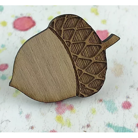 Wooden Acorn Brooch-Kimchi and Coconut-Rosie Sorrell