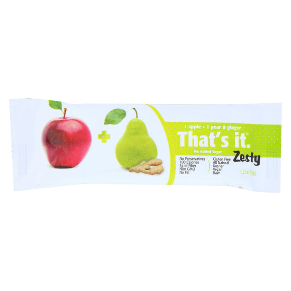That's It Fruit Bar Zesty - Apples Pear and Ginger - Case of 12 - 1.2 oz.