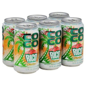 Diet Coco Rico - Natural Coconut Flavored Soda - SIX PACK (12 fl. oz. / can)