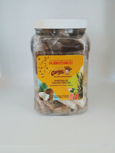 Puerto Rico's Native Candy Bites - 40 pieces Assortment Jar - Coconut Candy, Coconut Pineapple Candy, Roasted Coconut Candy, Sesame Candy, Guava Paste Candy