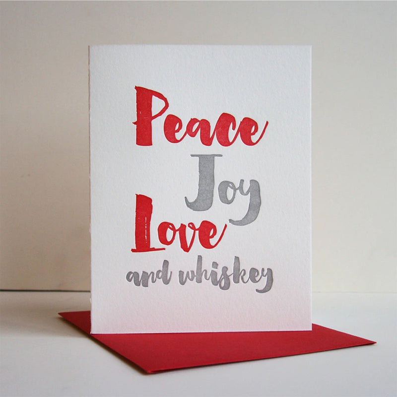 Peace Joy Love Whiskey - Greeting Card with Soap Shot