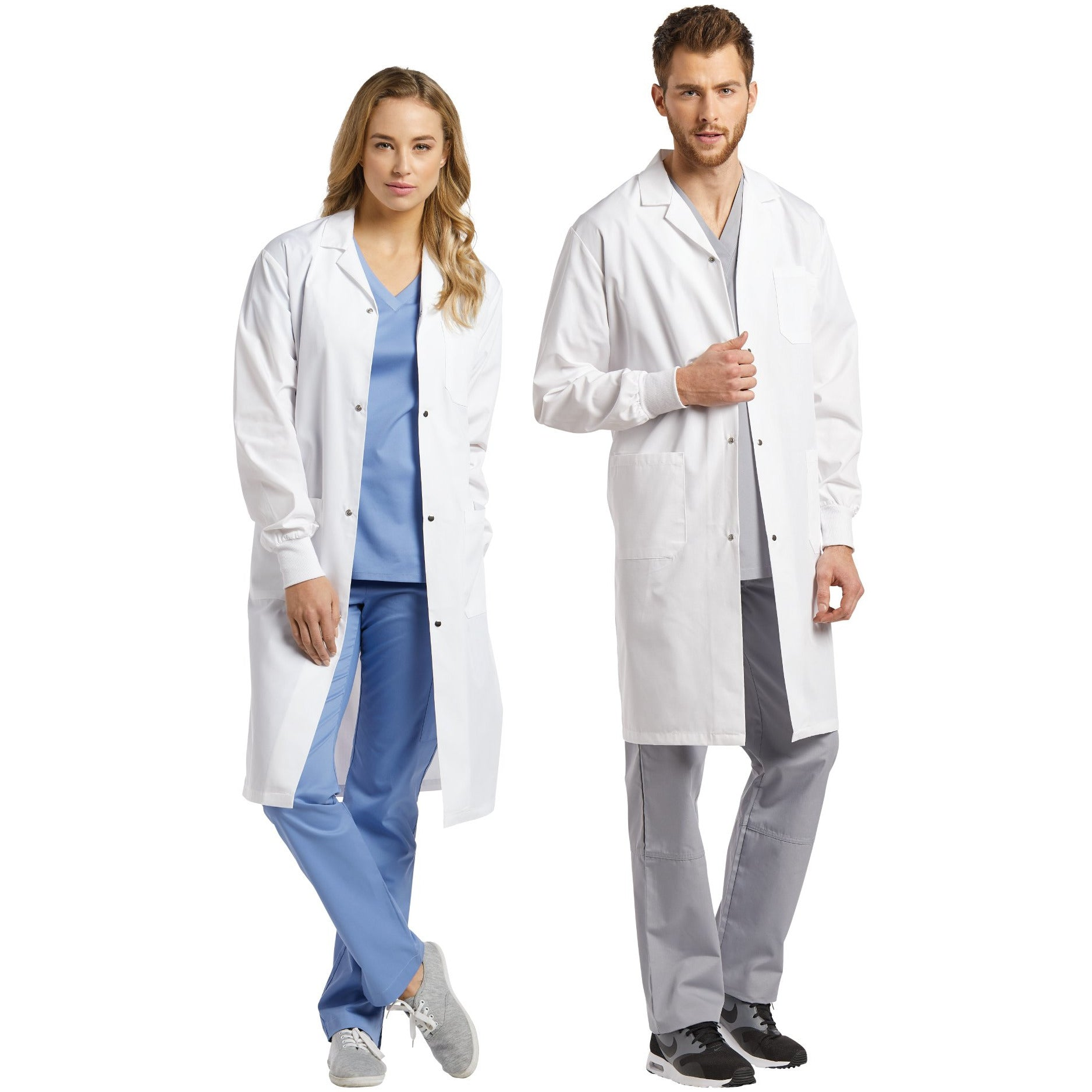 Unisex Three-Pocket Lab Coat with Snaps & Knit Cuffs