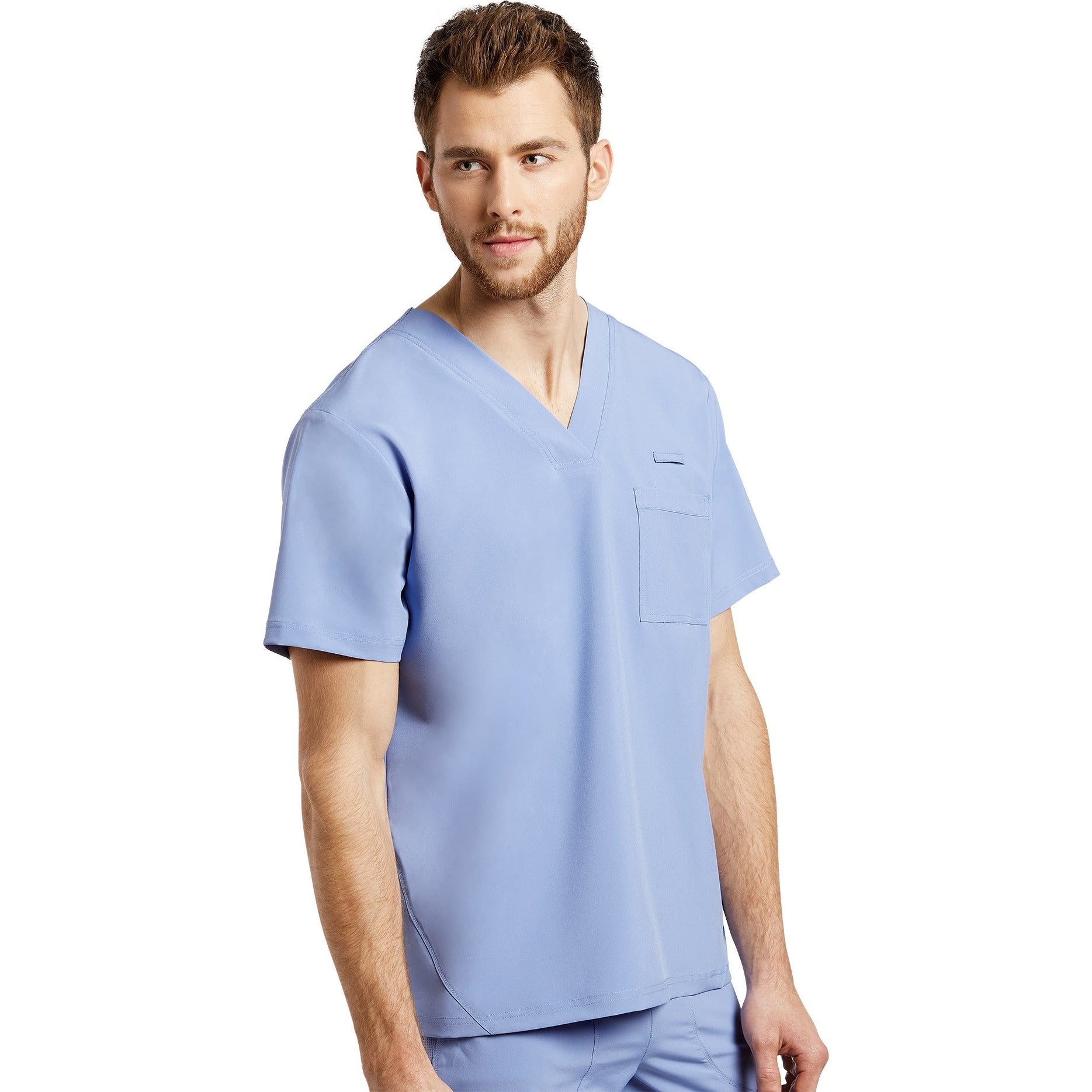 Men Scrub Top FIT V-neck with Front patch pockets 2269