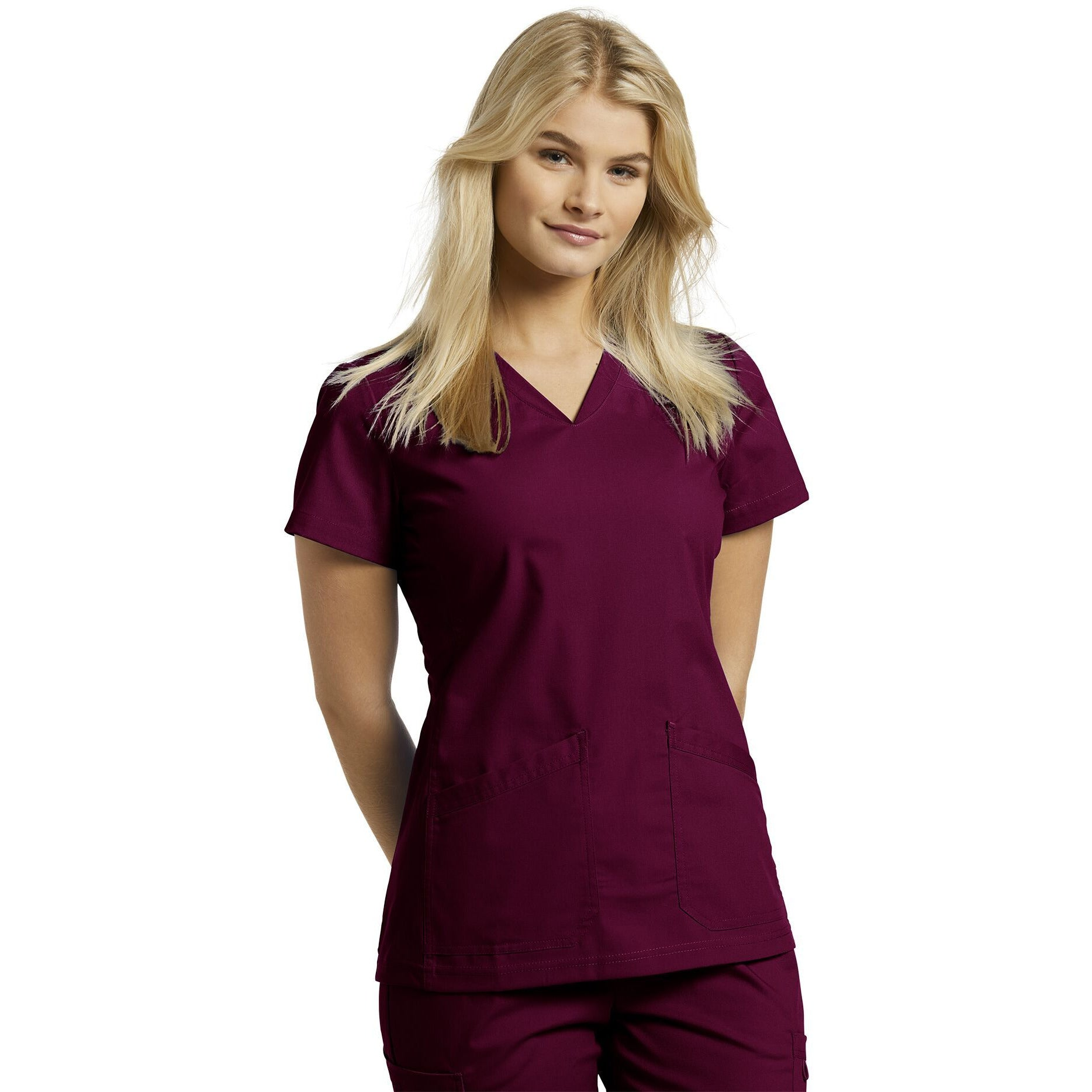 644 White Cross V-Neck Scrub Top