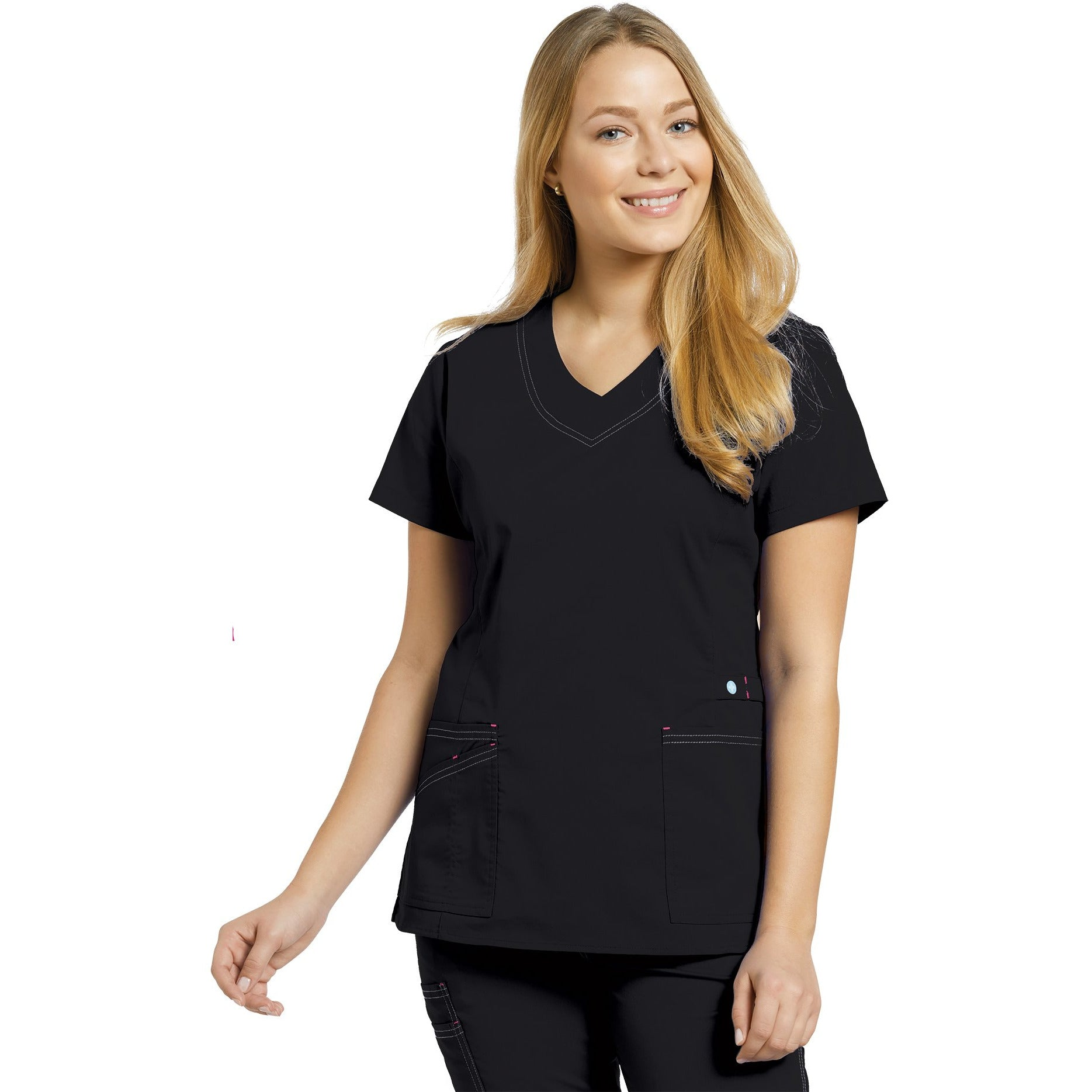 741 Curved V-neck Top with Contrast Stitching