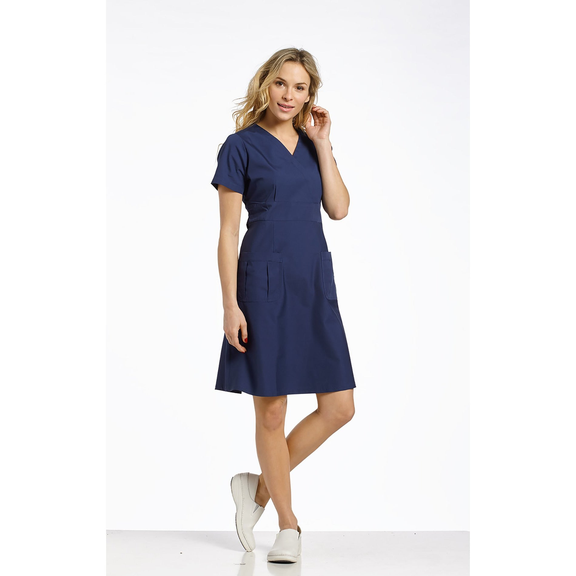 8011 White Cross Mock Wrap A-Line Scrub Dress