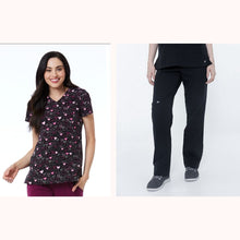 Load image into Gallery viewer, SET* 1747/KLW18B2 Curved V-Neck Print Top & BLISS PANT *Antimicrobial* PETITE or REGULAR *FINAL SALE*