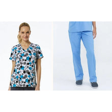 Load image into Gallery viewer, SET* 1747/KLW18B1 with Ceil Blue Pants Curved V-Neck Print Top & SERENE PANT *Antimicrobial* PETITE or REGULAR   *FINAL SALE*