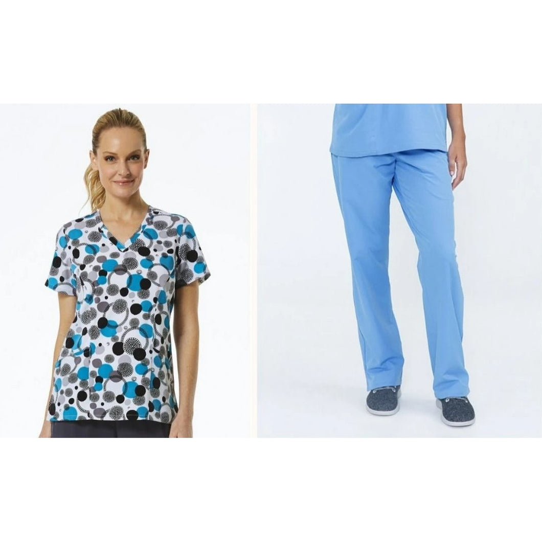 SET* 1747/KLW18B1 with Ceil Blue Pants Curved V-Neck Print Top & SERENE PANT *Antimicrobial* PETITE or REGULAR   *FINAL SALE*