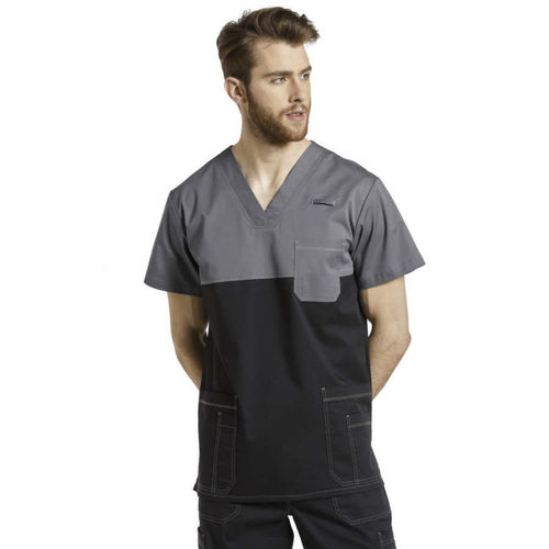 Men Scrub Top ALLURE V-neck top with reverse Cover Stitch 2265c *CLEARANCE SALE*