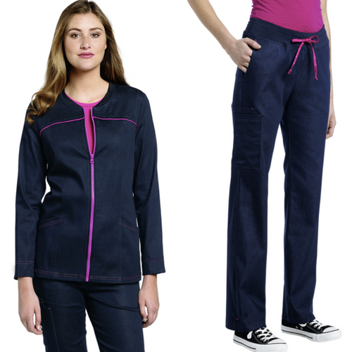 952/302 SET DENIM ZIP FRONT JACKET & DENIM YOGA PANT 302 *CLEARANCE SALE*