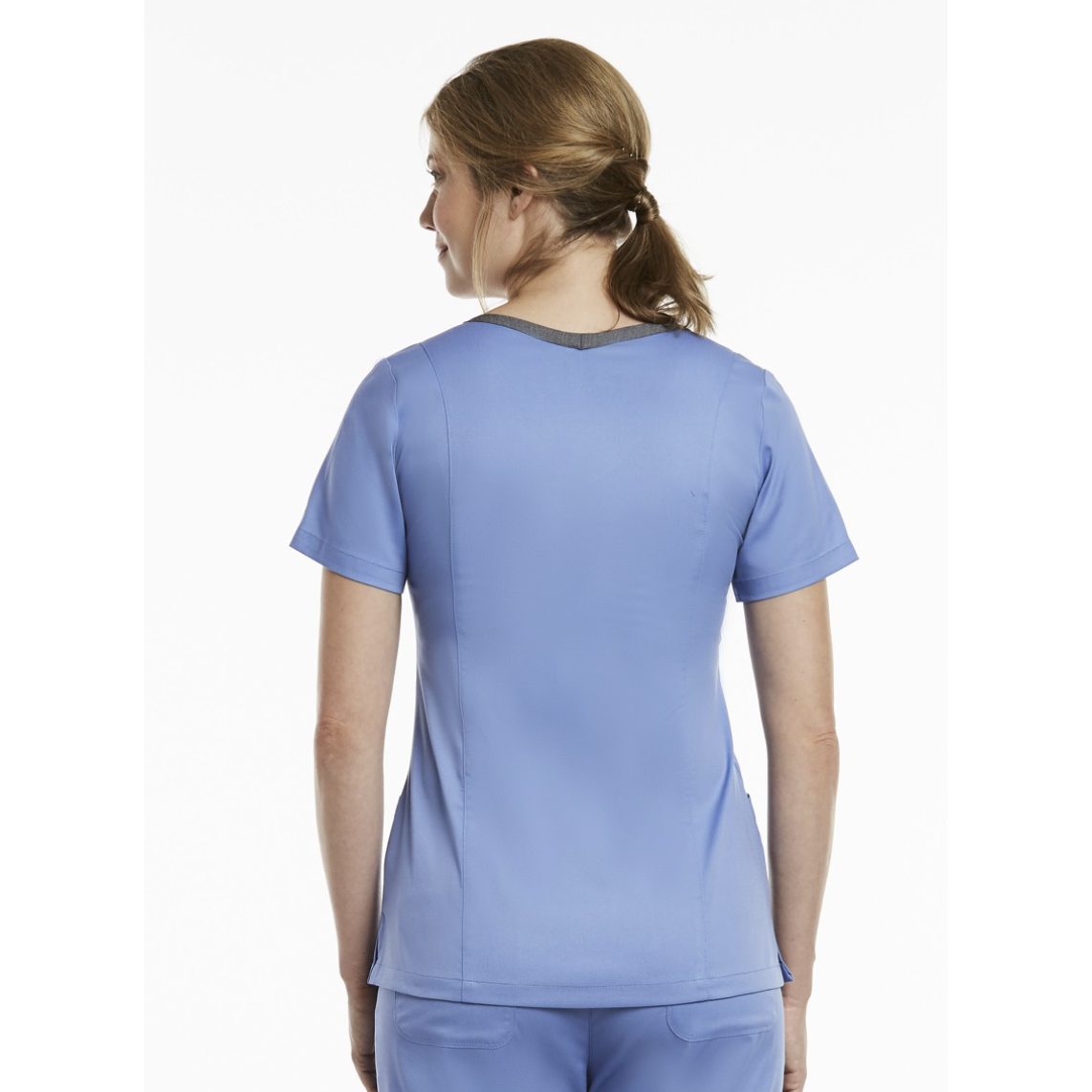 Both Side Contrast V-Nect Top 3502 (XL-3XL)