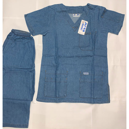 RETRO Denim Set 5 Pocket Top with  Drawstring/Elastic Scrub Pants Set *CLEARANCE*