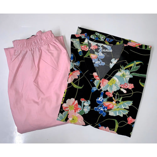 SET* TOP + PANT Four way stretch for extra comfort *SALE*  500A7-BK + 312P Flip Flap Scrub Pants