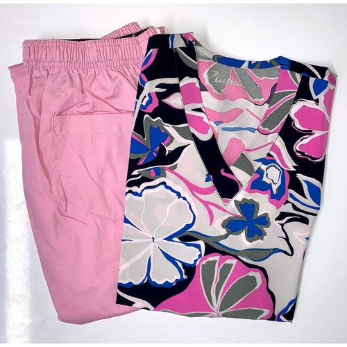 SET* TOP + PANT Four way stretch for extra comfort *SALE*  500A71327PK + 312P Flip Flap Scrub Pants