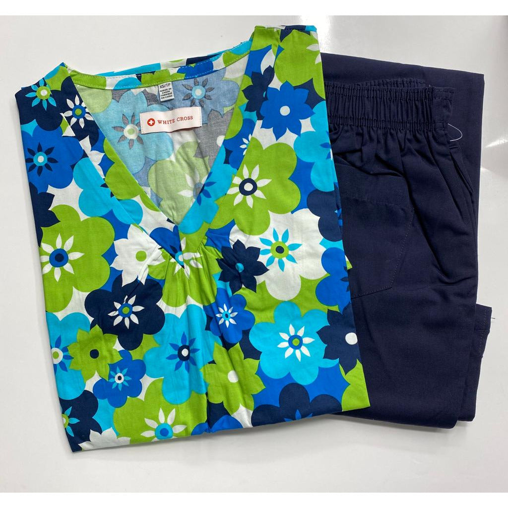 SET* 711 ESC Printed Top by WhiteCross & Flip Flap Scrub Pants CLEARANCE SALE (312P)