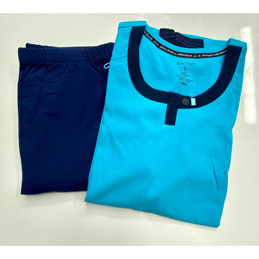 SET* Koi Lite Lotus Top - Electric Blue & 390 FIT Cargo Pant - Navy *SALE*