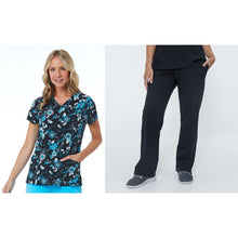 Load image into Gallery viewer, SET* 1747/KLW18B1 Curved V-Neck Print Top & SERENE PANT *Antimicrobial* PETITE or REGULAR