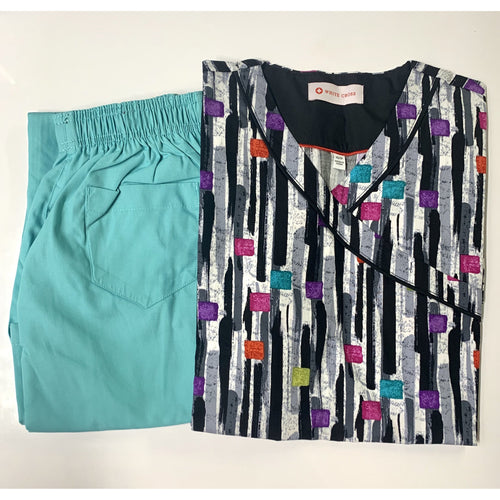 SET* Printed V-Neck Top 742TCG & 312P MOBB Flip Flap Scrub Pants CLEARANCE (SALE)