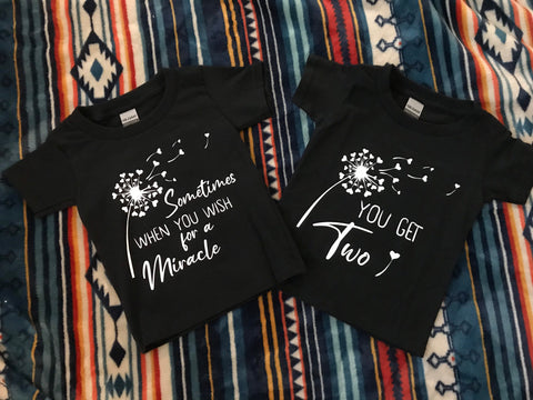 Matching twin shirts, twins, twin announcements, custom twin shirts, special twin announcements, sometimes you get two
