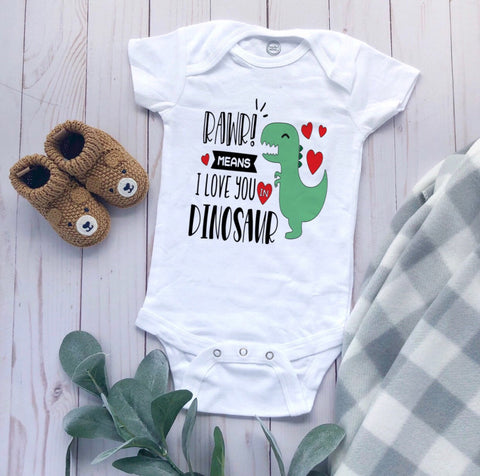 Rawr Baby Shirt, Dino, dinosaur baby bodysuit, Rawr means I love you, gender neutral bodysuit, Rawr