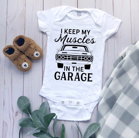 Muscles Themed baby bodysuit, boy bodysuit, car theme boy bodysuit, muscles bodysuit, Garage theme bodysuit,