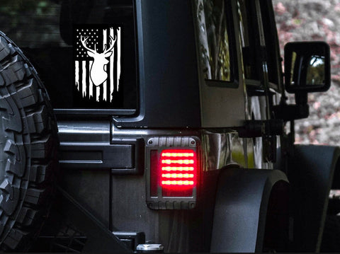 American Flag Deer Car Decal