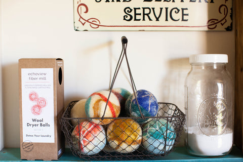 reusable wool dryer balls in multi-colored - use instead of dryer sheets