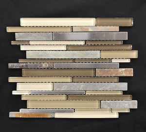 Nature Trail Glass Stone Stainless Linear Blend - Backsplash