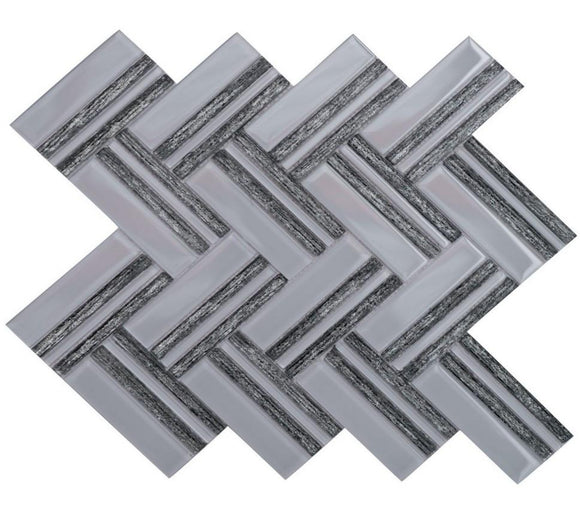 Austex Black & Silver Herringbone - Backsplash