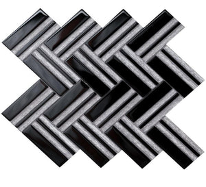 Austex Super White & Black Herringbone - Backsplash