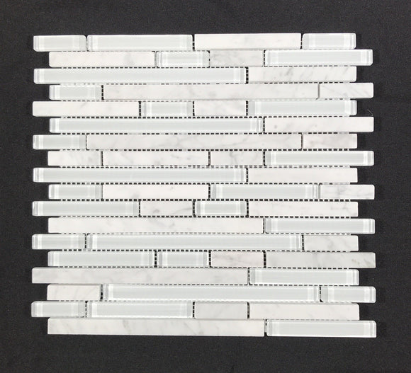 Carrara & White Glass Random Strips - Backsplash