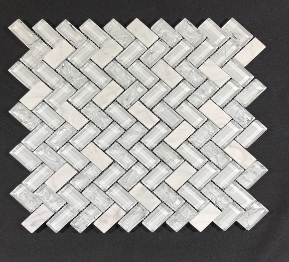 Herringbone Large White Ice - Backsplash