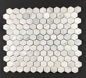 "Carrara 1"" Hexagon - Backsplash"