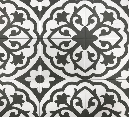 8 x 8 Form Monochrome Lotus Deco Porcelain Tile