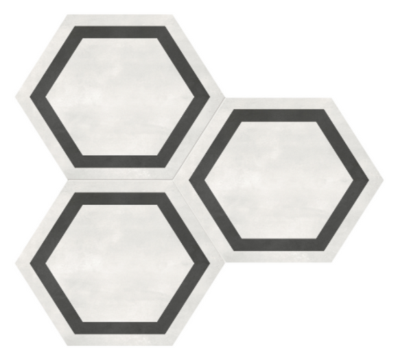 Form Ivory Hexagon Frame Porcelain 7 x 8 Tile