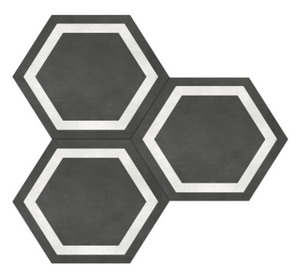 Form Graphite Hexagon Frame Porcelain 7 x 8 Tile