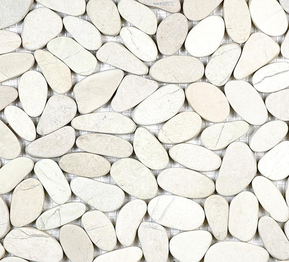 Pebble Tile - Zen Serenity Ivory Flat Pebble Mosaic