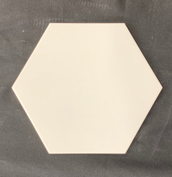 "Classic White Hexagon 10"" Porcelain Tile"